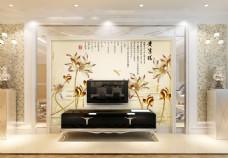 金色花卉背景墙