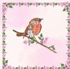 水彩春季站在枝头的小鸟