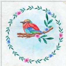 手绘水彩春季花鸟花环