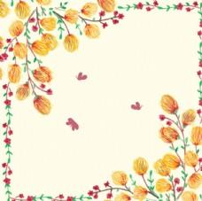 手绘水彩春季蝴蝶花卉框架