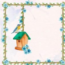 手绘水彩春季花鸟背景