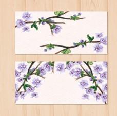 手绘水彩春季花卉横幅