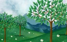 手绘春季的山谷插图