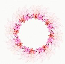 手绘水彩春季花环樱花