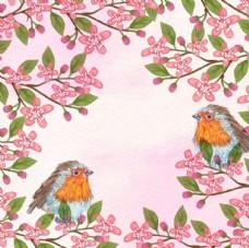 手绘水彩春季花卉小鸟插图