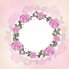 手绘水彩春季粉色玫瑰