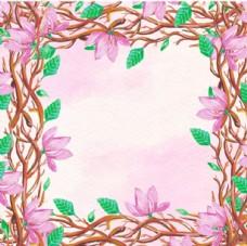 手绘水彩春季花卉花枝插图