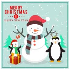 企鹅与雪人圣诞节插画