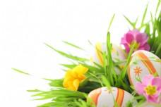 复活节彩蛋与鲜花图片
