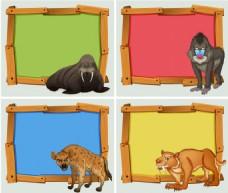 动物标签板写字板背景