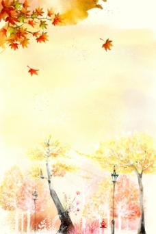 秋季落叶插画