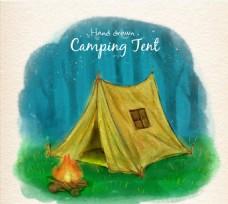 水彩绘野营帐篷插画矢量素材