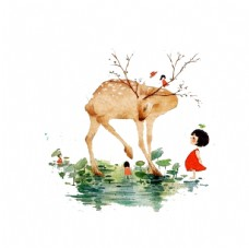 麋鹿小女孩清明谷雨插画