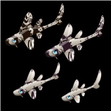 手绘的4只怪鱼的鱼
