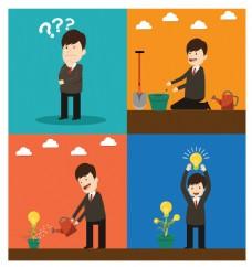 项目启动与灯泡商业插画
