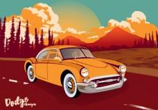 复古经典汽车插画