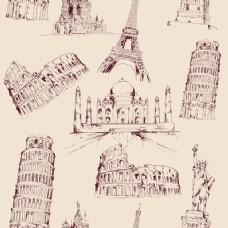 手绘世界纪念碑图案
