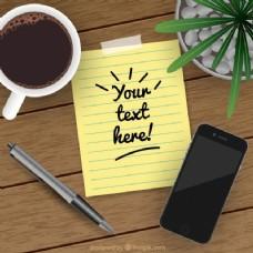 现实背景与纸币旁边的手机和一杯咖啡