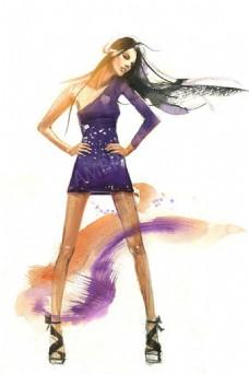 紫色单肩紧身裙