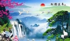 松鹤延年中式背景墙