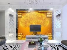 花纹背景金色背景墙