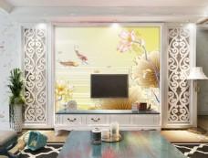 花卉荷叶装饰背景墙
