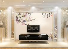 中式花卉背景墙