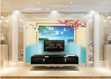 花卉相框装饰背景墙
