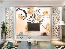花卉花纹背景墙