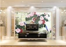 牡丹花卉元素背景墙