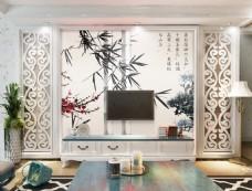 竹叶装饰背景墙