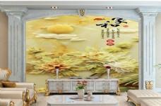玉雕背景装饰墙