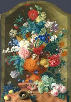 欧式古典写实花卉背景墙