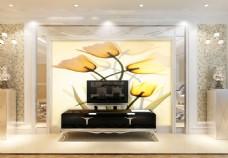 百合花卉背景墙