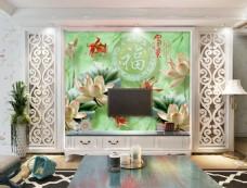 玉雕花卉背景墙