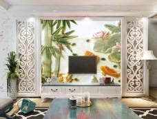 竹子荷叶装饰背景墙