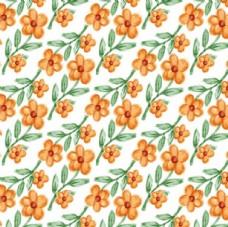 四方连续金色春季花朵背景