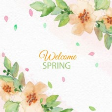 手绘水彩春季花卉背景