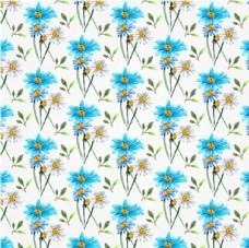 四方连续蓝色春季花卉背景