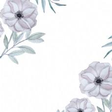 手绘淡雅春季花卉花草