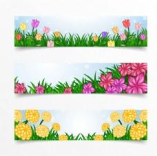 三款春季花卉横幅背景