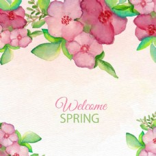水彩春季花卉背景