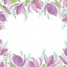 手绘淡雅春季花卉