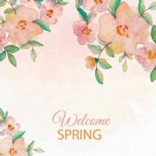 手绘春季花卉背景