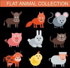 卡通动物 猪马牛羊
