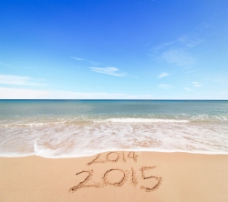 沙滩上的2015数字图片