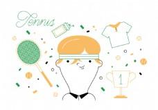 网球矢量素材