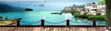度假旅游江边风景