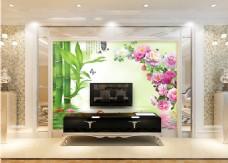 竹子花卉背景墙