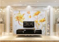 金色花卉电视墙